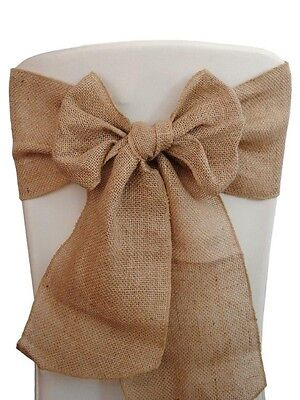 "Burlap Chair Sashes 6""x108"" Wedding Event Parties Shows 100% Natural Jute USA"