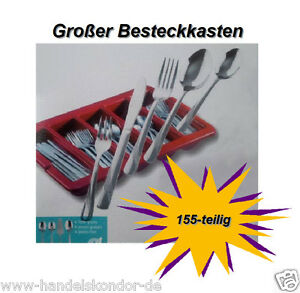 Besteck-155-teilig-Besteckkasten-Menuemesser-Edelstahl-Gastronombesteckkasten-NEU