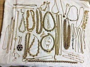 Vintage 38 pc Costume Jewelry Necklace Lot Marvella Monet Coro Trifari Avon ++