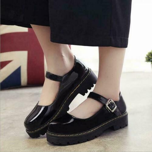 Womens round toe Lolita preppy  Mary Jane Block Heel Buckle casual Shoes