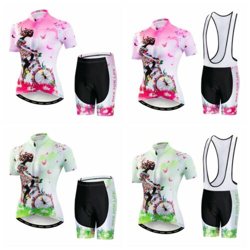 Women/'s Cycling Jersey T-Shirt Short Sleeve Sets Bike Suits Clothing Bicycle Top