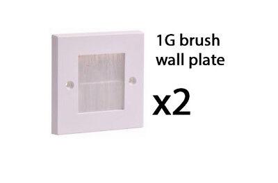 Simple 1 Gang Blanc Pinceau Plaque Murale Prise Entrée De Câble PLAQUE Tidy Mount CCTV