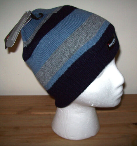 BOYS BEANIE HAT THINSULATE STRIPE FLEECE LINED THERMAL /& GIRLS BOBBLE BEANIE HAT