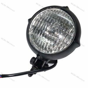 4-034-Bates-Black-Headlight-HeadLamp-Head-Light-for-Harley-Bobber-Chopper-Dyna-KM