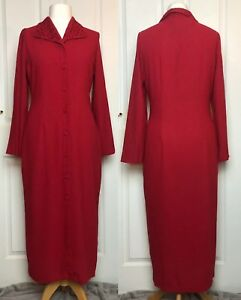 Vintage-Red-Debenhams-Button-Through-Long-Dress-Size-12-BNWT-Embroidered-Collar