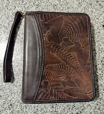 New Listingfranklin Covey Quest Brown Leather Compact Planner Binder Embossed Leaves Leaf