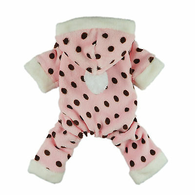 Fitwarm Pink Sweetie Dog Pajamas for Pet Clothes Cute Cat Hoodie Coat Jumpsuit
