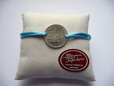 Bracelet Cordon bleu turquoise avec pièce 1 Franc Semeuse en argent
