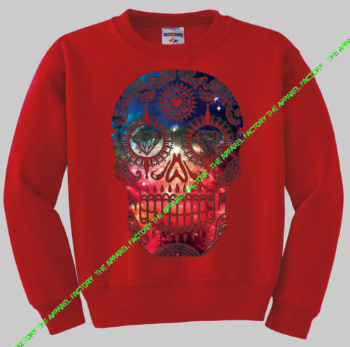 New GALAXY SKULL Red Sweatshirt sugar day of the dead diamond mexican space star