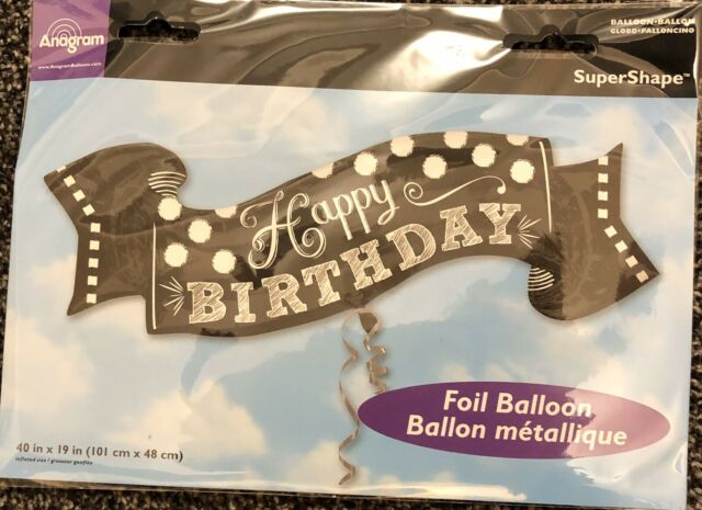 "GIANT 40/""x19/"" HAPPY BIRTHDAY Chalkboard Banner Foil Helium BALLOON Party"