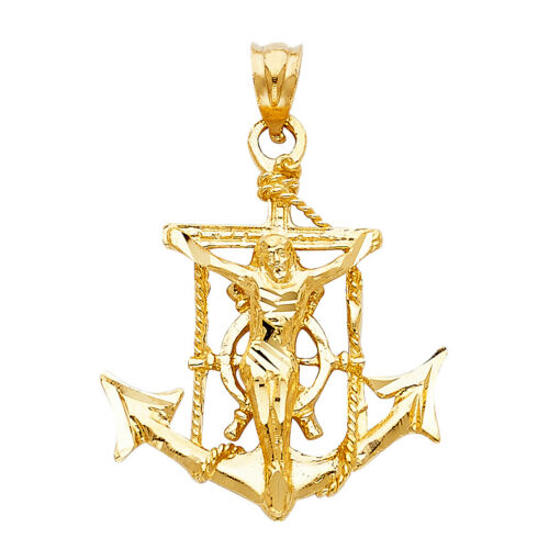 14K Real Solid Yellow Gold Mariner Religious Crucifix Pendant Collections