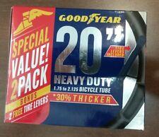 """2x Goodyear 20/"""" x 1.75-2.125 Heavy Duty Bike Tube 1 Pack New Sealed~Tire Lever"""