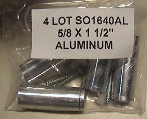 "Silver BAG Round 4 LOT SO1640AL 5//8 x 1 1//2/"" Through Grip Standoffs Aluminum"