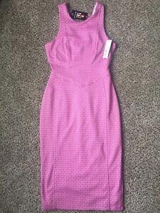 NWT-Women-039-s-I-LOVE-RONSON-Sleeveless-Textured-Pink-White-Dress-sz-X-Small