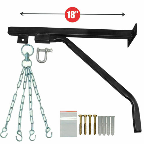 """18 /"""" Wall Bracket Boxing Punch Bag Steel Hanger with 4stand Chain MMA Heavy Duty"""