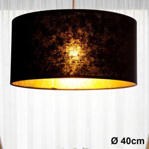 Hänge Leuchte Wohn Zimmer Beleuchtung Textil Decken Pendel Lampe schwarz gold