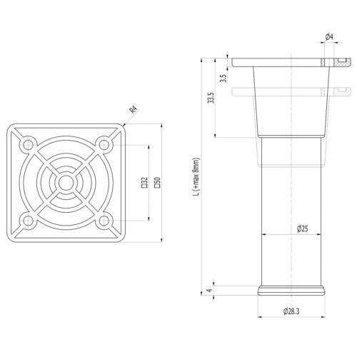 Möbelfüße ALFA H 60-150 mm Stützfüße Schrankfuß Möbelbeine Sockelfuß Metall