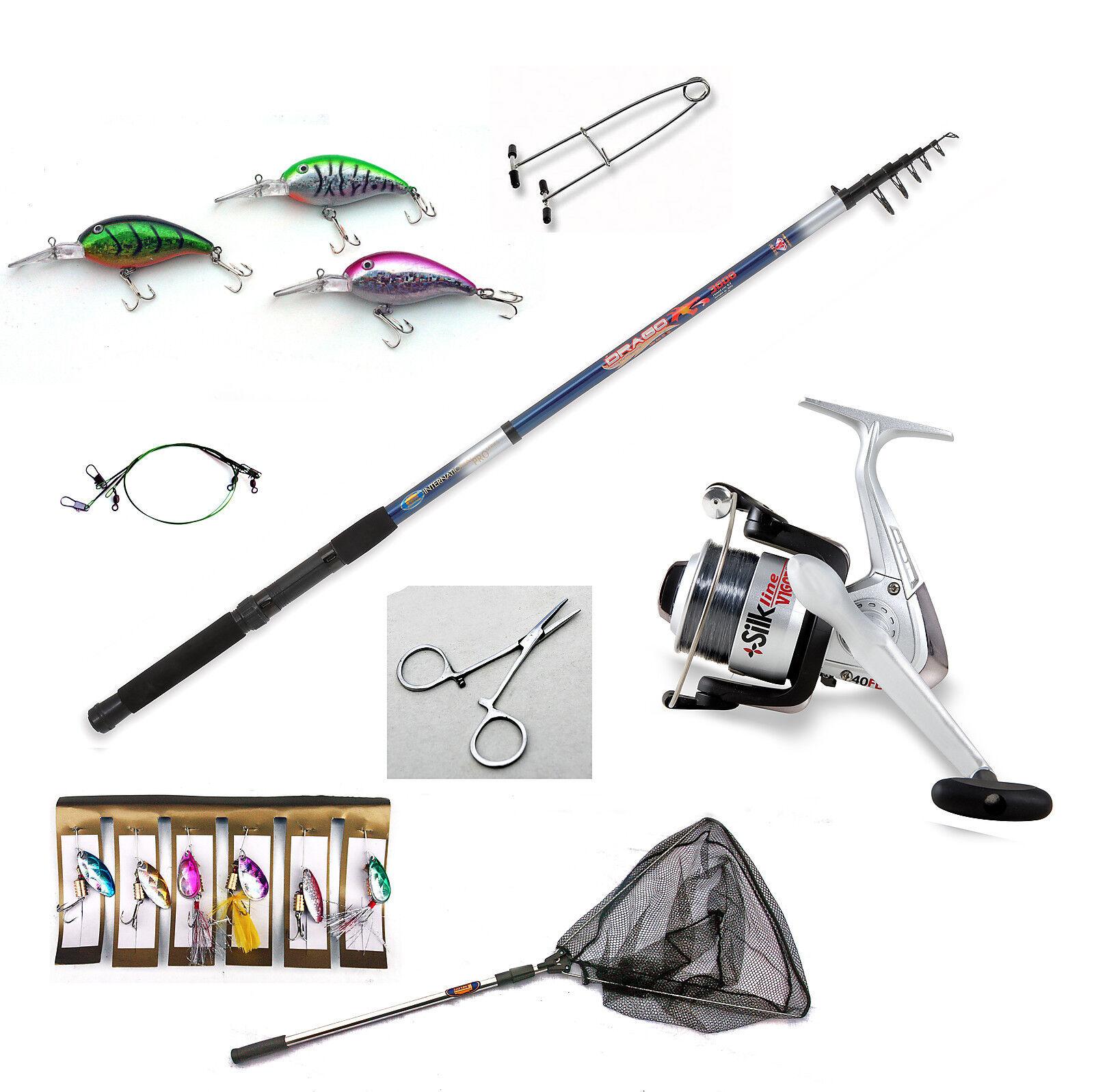 Telescopic Pike fishing Bundle - Rod reel,plugs,traces,line,net-Choice of rods
