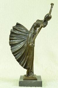 Chiparus-Belly-Dancer-Statue-Pure-Bronze-Sculpture-Signed-Art-Deco-Marble-Base