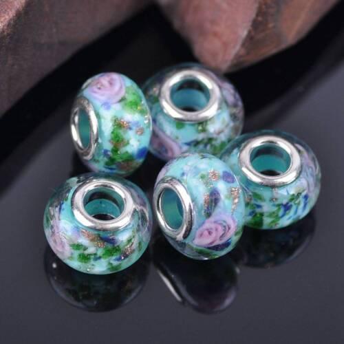 10pcs 15x9mm bleu pâle Européen Charms Murano Lampwork Glass Loose Beads 1-9#