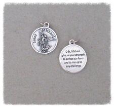 St. Saint MICHAEL Charm Holy Medal ROUND & Prayer M224 ITALY Rosary Pendant