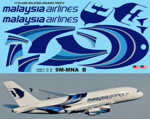 1//144 Airbus a 380 Malaysia Airlines for Revell Decals TBDecal TBD214