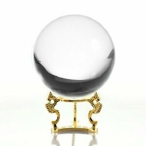 Crystal Ball Quartz Clear 6in (150mm) With Gold Dragon Stand USA Seller