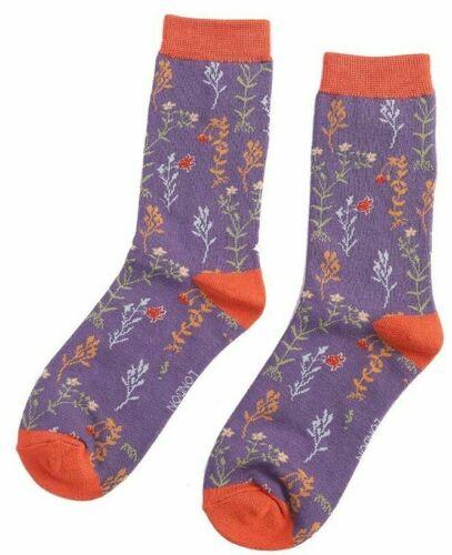 Floral Purple /& Rust 4-7 Miss Sparrow Ladies Bamboo Socks Wild Flowers Design