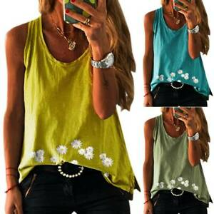 Womens Ladies Summer Sleeveless Blouse Floral Vest Holiday Beach Tee Cami Top