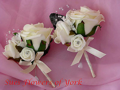 WEDDING FLOWERS 1 PAIR LADIES CORSAGES FINISHED WITH PEARLS AND DIAMANTES