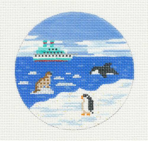 *NEW*   Antarctica w// Penguin  Needlepoint Canvas Ornament by Painted Pony