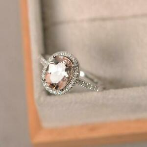 1-65Ct-Oval-Cut-Peach-Morganite-Halo-Engagement-Ring-14K-White-Gold-Finish