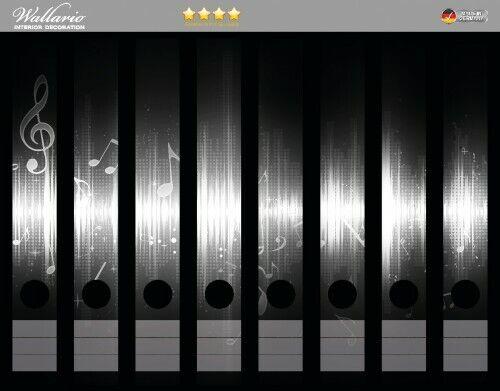 Noten der Musik in sw Wallario Ordnerrücken selbstklebend 8 schmale Ordner