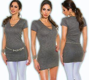 bf035a6833 Das Bild wird geladen Kleid-Minikleid-Schnuerung-Kettenschnuerung-Kette -Longshirt-Shirtkleid-Schwarz-