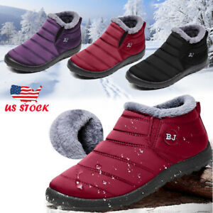New-Women-039-s-Winter-Snow-Ankle-Boots-Fur-Lined-Waterproof-Outdoor-Flat-Warm-Shoes