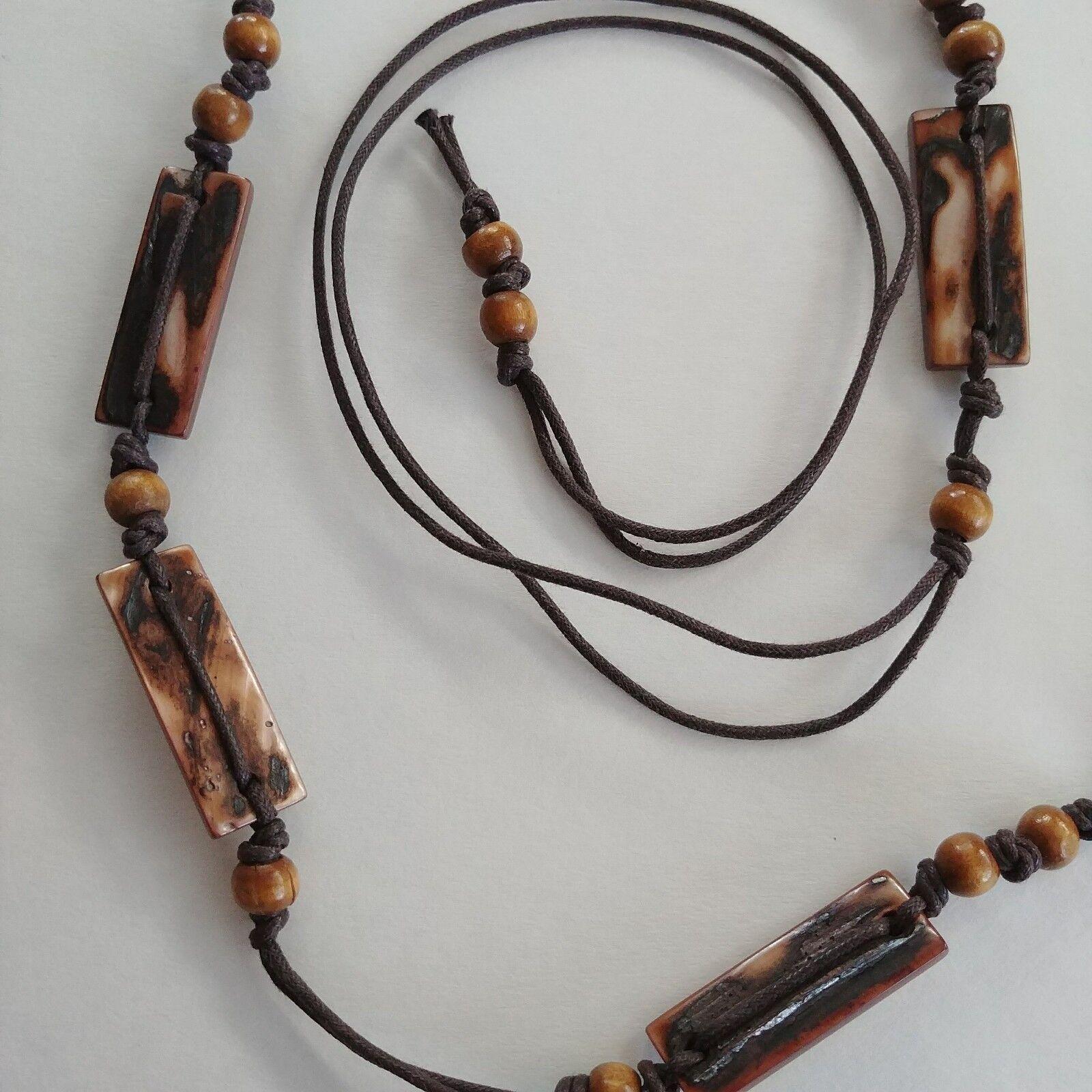 Krawatte Kunst Stein Holz Perlen Boho Chic Brown Einzigartig Belt (2.5cm x 94cm)