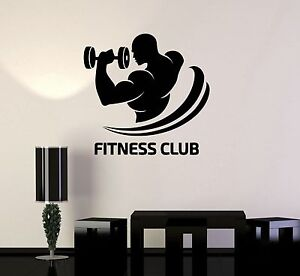 Vinyl Decal Fitness Club Logo Gym Bodybuilding Sports Decor Wall - Sporting wall decals