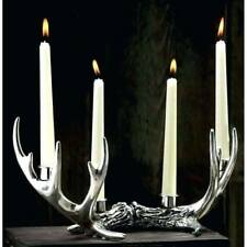 Rustic Style Antler Candle Holder Silver Stag Ornament 4 Candlesticks Vintage