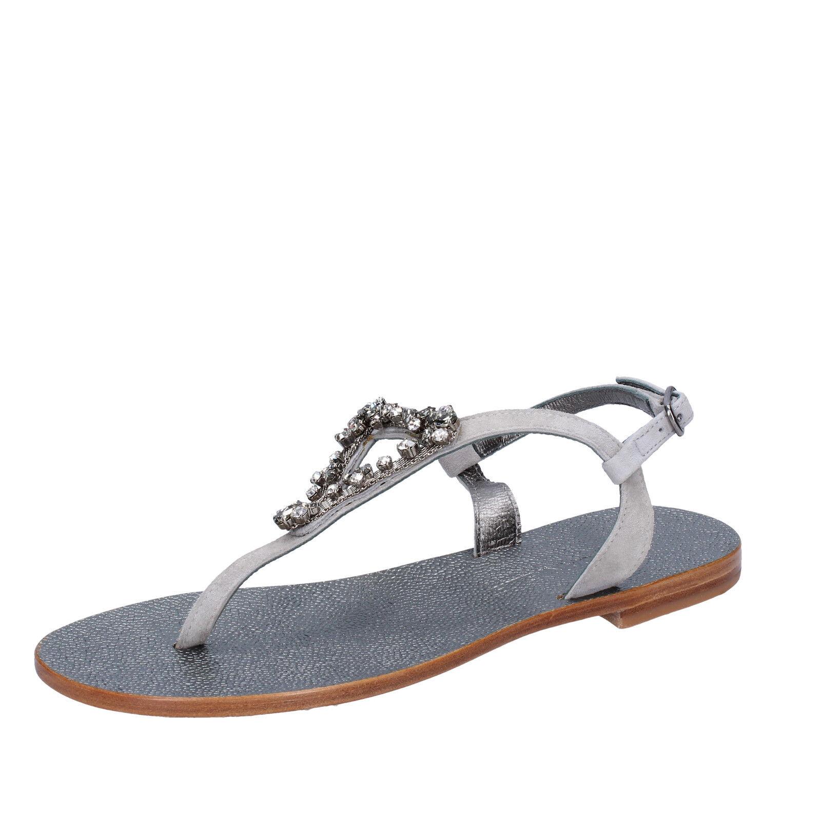 donna EDDY DANIELE 37 EU sandali grigio camoscio swarovski  AW364