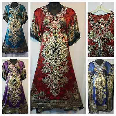 Women Kaftan Caftan Long Dress Dashiki Vintage African Boho Gown One size Plus