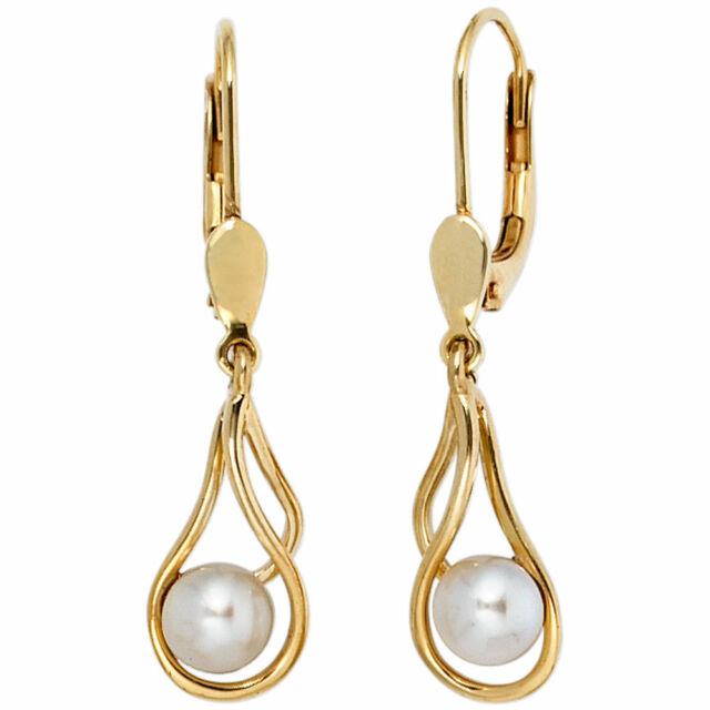 Boutons 585 Gold Yellow Gold 2 fresh water pearls earrings earring