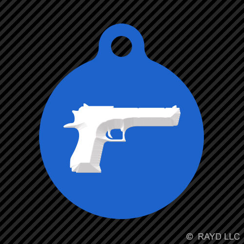 Desert Eagle Keychain Round with Tab dog engraved many colors Israel 50 CAL