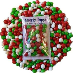 Red-White-amp-Green-Chocolate-Beans-30g-Cake-Decoration-Sprinkles-Cupcake-Toppings