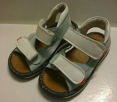 BABY Jungen Kinder Schuhe SANDALEN MADE IN ITALY Gr. 19 Hellblau Weiß LEDER NEU!