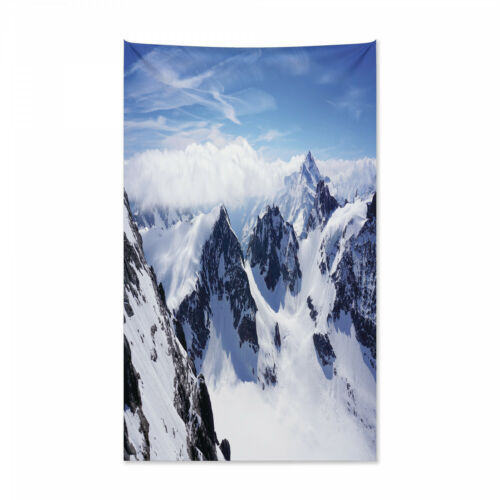 Berggipfel Landschaft Druck Winter Wandteppich und Tagesdecke
