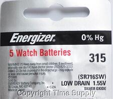 5 pcs 315 Energizer Watch Batteries SR716SW SR716 0% HG