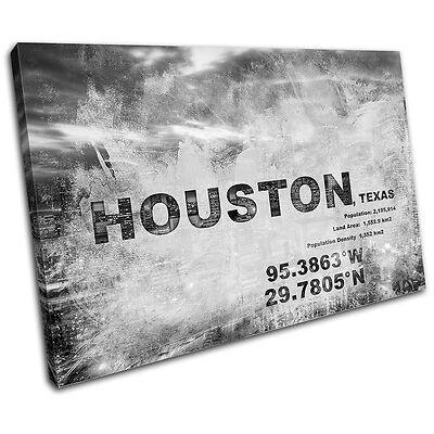 Houston Texas City Typography SINGLE CANVAS WALL ART Picture Print VA