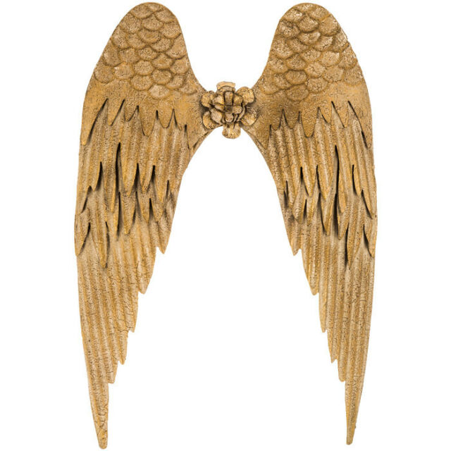 Charming 26 Gold Angel Wings Metal Wall Decor Beautiful Antique Look