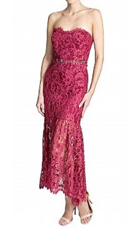 ny Marchesa Notte Strapless LACE Dress Jeweld kristaller Cranbberry röd på NUDE 8
