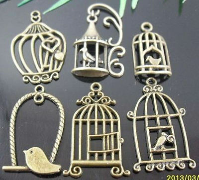 wholesale lots Bronze Plated Mixed Style Birdcage Charms